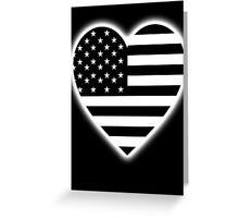 American Flag, BLACK Heart on BLACK, Stars & Stripes, Pure & Simple, America, USA Greeting Card