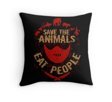 save the animals, EAT PEOPLE (8) Throw Pillow
