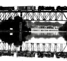 Train Crossing Bridge Black&White by TLWhite