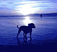 Staffordshire Bull Terrier on Beach in Blue, Pop Art Print by ArtPrints