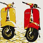 Vespa Scooters on Cobble Street, Pop Art by ArtPrints