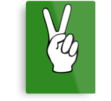 Hand Peace Sign Fingers Metal Print