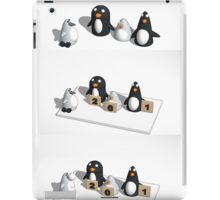 Robo penguin researching real penguins who rate him for realism and throw snow balls at him iPad Case/Skin