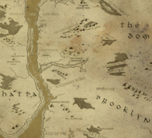Fantasy Map of New York City: Dirty Parchment Sticker