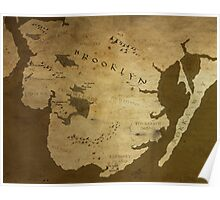 Fantasy Map of Brooklyn: Brown Parchment Poster