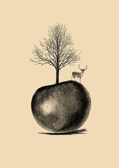 DEER APPLE TREE by wolfandbird