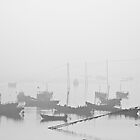 Boats in Fog, China by Phill Jenkins