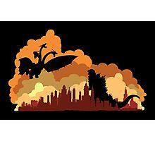 Godzilla versus Ghidorah cityscape Photographic Print