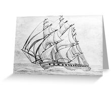 Graphite  Pencil Drawing of a Clipper Ship at Top Speed Greeting Card