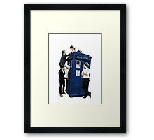 One Direction & The Tardis transparent Framed Print