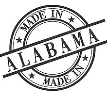 Made In Alabama Stamp Style Logo Symbol Black by surgedesigns