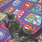 shadow cat 2 on persian rug by maria paterson
