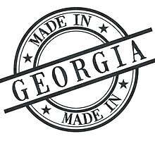 Made In Georgia Stamp Style Logo Symbol Black by surgedesigns