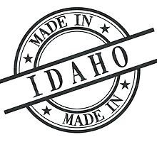 Made In Idaho Stamp Style Logo Symbol Black by surgedesigns