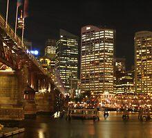 Pyrmont Bridge with Sydney City by Kezzarama