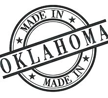 Made In Oklahoma Stamp Style Logo Symbol Black by surgedesigns