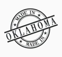 Made In Oklahoma Stamp Style Logo Symbol Black Kids Clothes