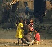 Children in a Mumbai dawn, India. by Peter Stephenson
