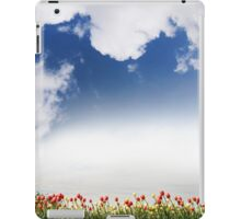 Spring tulips and cloudscape view iPad Case/Skin
