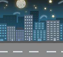 night city blue location illustration by DavidMurk
