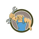 Bulldog Mechanic Holding Spanner Circle Cartoon by patrimonio