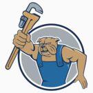 Bulldog Plumber Monkey Wrench Circle Cartoon by patrimonio