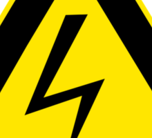Warning sign. Lightning bolt.  Sticker