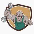 Angry Gorilla Mechanic Spanner Shield Cartoon by patrimonio