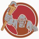 Angry Gorilla Plumber Monkey Wrench Circle Cartoon by patrimonio