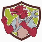 Red Dragon Mechanic Spanner Fist Pump Shield by patrimonio