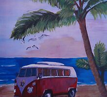 Surf Bus series -  red Surf Bus at palm beach by artshop77
