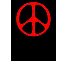 Red 60s Peace Sign Symbol Photographic Print