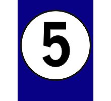 5, Five, Number Five, Number 5, Racing, Five, Competition, on Navy Blue Photographic Print