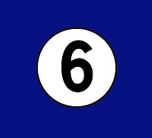 6, Sixth, Number Six, Number 6, Racing, Six, Competition, on Navy Blue by TOM HILL - Designer
