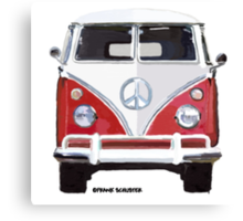 Splitty VW Bus Front Red Canvas Print
