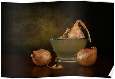 Shallots In A Pottery Bowl by Holly Cawfield