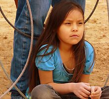 Eyes Not Trusting, Portrait Of A Native American Child by Susan Bergstrom