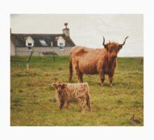 Highland cow and calf Scotland T-Shirt
