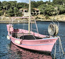 Pink fisher boat by jean-louis bouzou