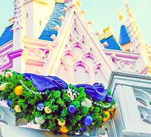 cinderella castle at christmas. by Diana Kelly