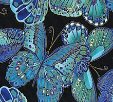 Teal and Black Butterfly Pattern by HavenDesign