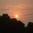 Sun set in smokey sky by Vicki Hancock