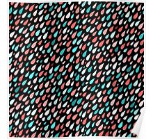 Rainy Day Pattern. Pink and blue Poster