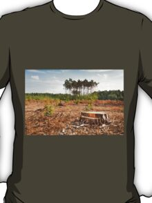 Woods lone trunk in deforestation T-Shirt