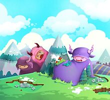 Cute monsters in the nature by Diana Costin