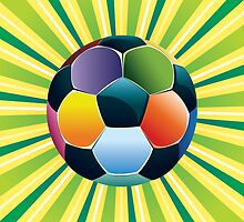 Soccer Ball on Green Background 3 by AnnArtshock