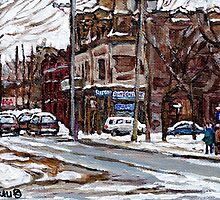 MONTREAL PAINTINGS POITE ST.CHARLES RUE CHARLEVOIOX WINTER STREETS MONTREAL ART by Carole  Spandau