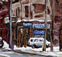 MONTREAL PAINTINGS POITE ST.CHARLES RUE CHARLEVOIOX WINTER STREETS MONTREAL ART Sticker