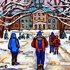 MCGILL UNIVERSITY CAMPUS WINTER CLASSES BEST MONTREAL ART CANADIAN PAINTINGS by Carole  Spandau