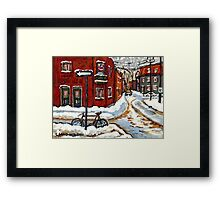 MONTREAL PAINTINGS POINTE ST.CHARLES WINTER STREET WITH SNOW AND BIKE  Framed Print